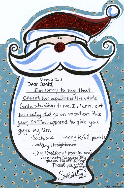 Sarah's letter to Santa 2008