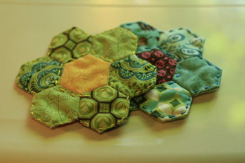 English paper pieced coasters