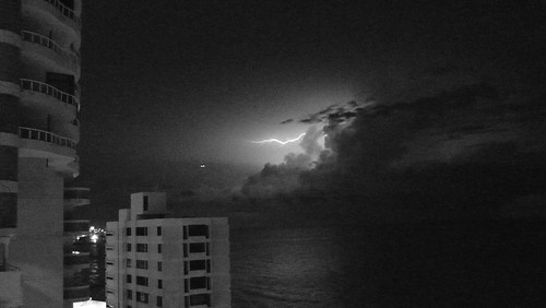 Lightning in black and white
