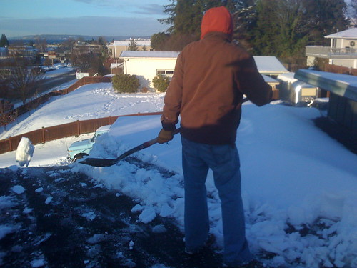 The nice thing about shoveling a roof is you can just chuck it ove the side.
