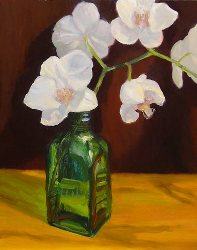 Orchids in Green Bottle