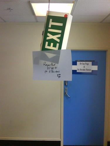 broken exit sign