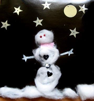 night scene snowman