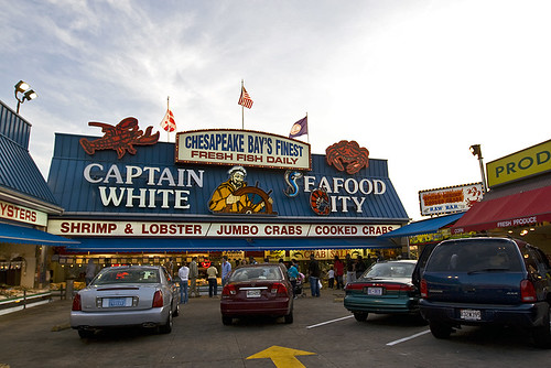 The iconic Captain Whites storefront - one of 10 or so such fresh seafood vendors in the market.