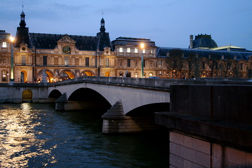 Looking back at the Louvre, at night.