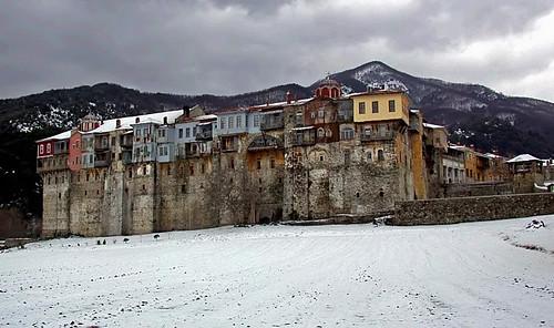 Iveron Monastery in snow