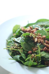 freekeh reekeh baby spinach & almond salad