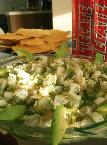 Jorge's Seviche with Tecate