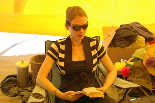 Trying to read in between sand storms.