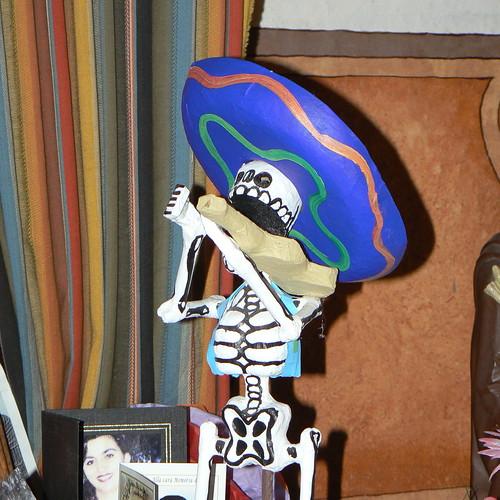 Calacas on Dia de los Muertos altar