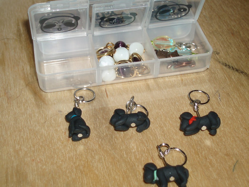 stitch marker container (cute pill box) and black lab markers from etsy's weeones