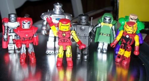Steel, Silver Centurion Iron Man, STRIPE, Classic Iron Man, Original Iron Man, Dr. Doom, Zombie Iron Man and (peeking in from the back) Lex Luthor