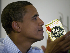 barack obama with a pabst blue ribbon