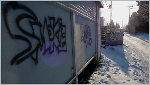 Alley in Spenard neighborhood, Anchorage.