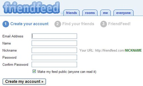 Friendfeed - Create Account