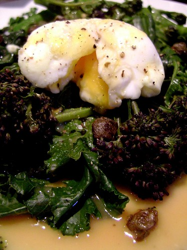Purple Sprouting Broccoli with soft egg and capers