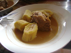 Porcupine meat and boiled plantains.