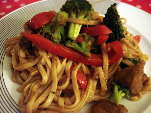 Curried udon noodle stir fry