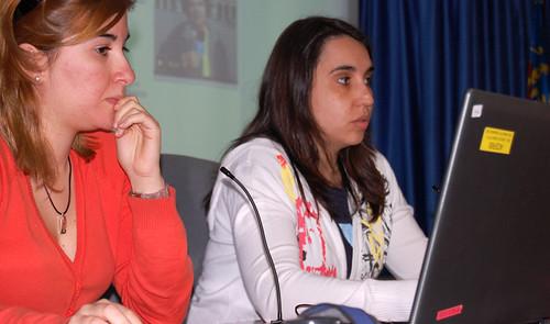 Las periodistas en su visita al CEU