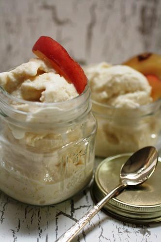 White peach and honey ice cream