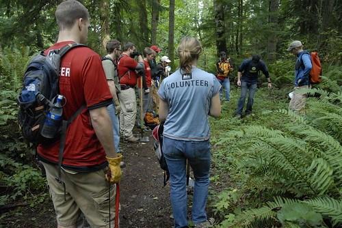 Volunteers prepping for trail work