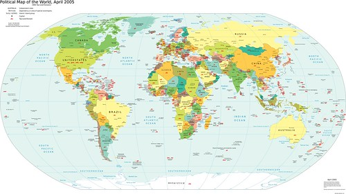 World Map with Internet Top Level Domains