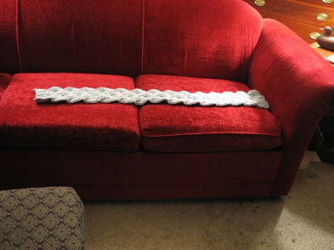 Malabrigo Scarf on Couch-o-meter
