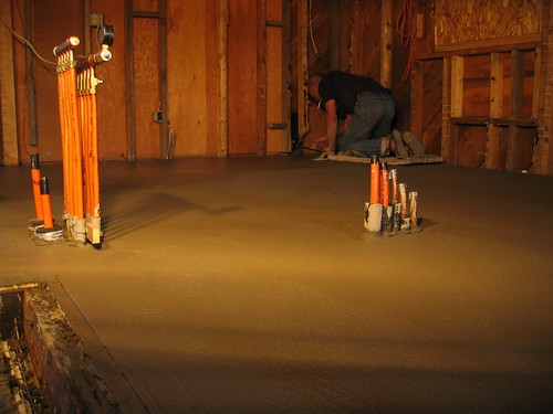 Dick on skates, finishing the floor.