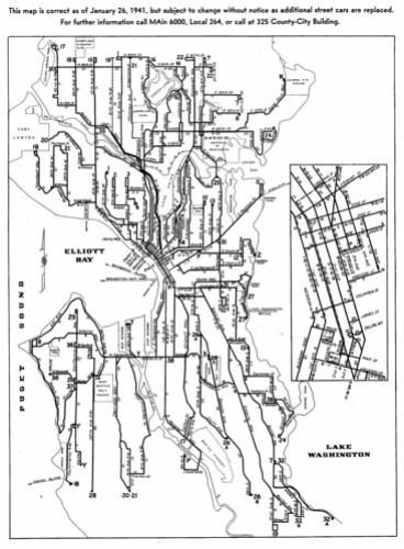 1941 Seattle streetcar map