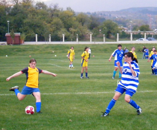 Most Valuable Player (Girl of the Match) Yasemin G. clears the ball.