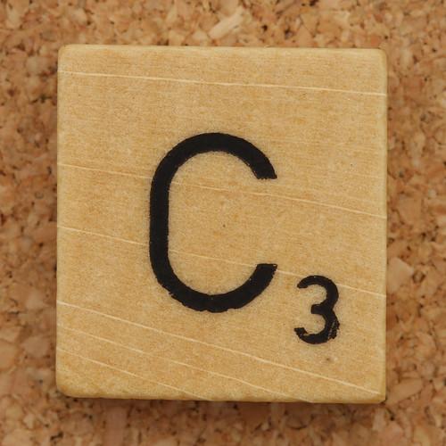 Wood Scrabble Tile C