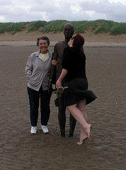 Helen and her great-aunt Vera with Antony Gormley's Another Place, Crosby Beach, Liverpool.