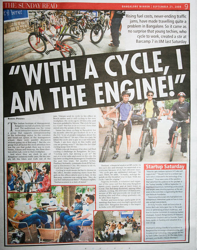 Photo of the Cycling To Work page in Bangalore Mirror on 21st September, 2008 Sunday