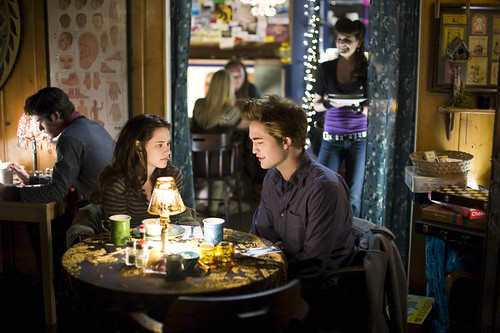 The Twilight movie - Edward and Bella at the restaurant by Billie Joe's Entourage.