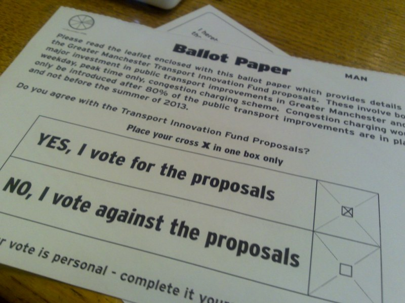 Ballot paper for the Manchester TIF refe by Frankie Roberto, on Flickr