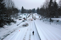 Snow in Olympia - State Patrol closing roads