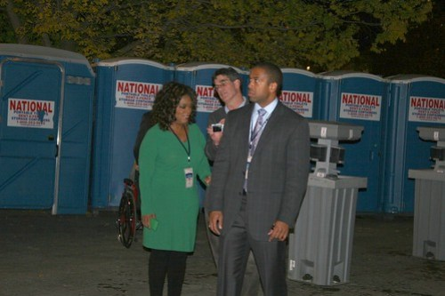 Oprah at Obama victory, toilet visit