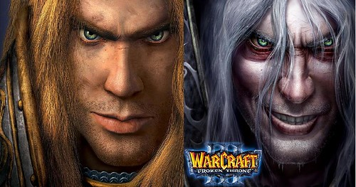 Arthas, before and after his corruption by NerZhul