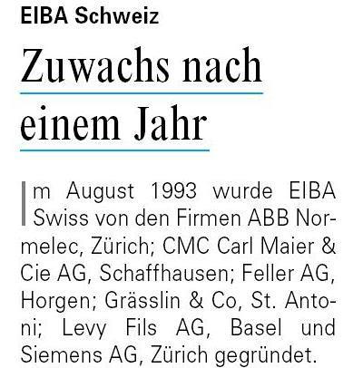 15 Jahre EIBA Schweiz
