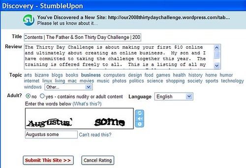 StumbleUpon - Submitting the TOC
