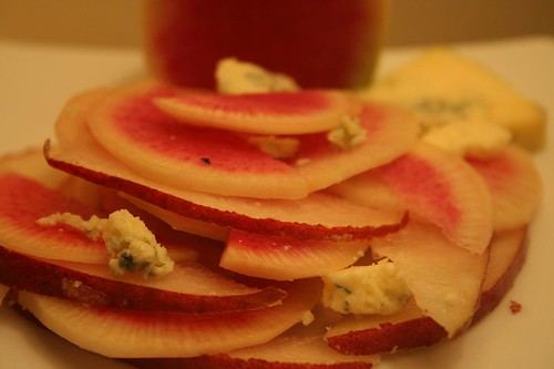 Watermelon Radish, Pear and Cashel Blue Salad