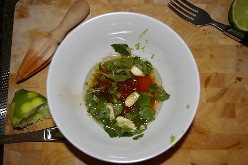 Saifun Salad dressing and kitchen mess