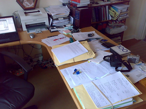 My desk before the clean up