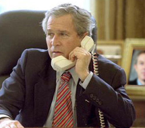 Hello Jayram ? This is George here.... Can you tell me how to hold my presidential phone ?... What ??? you cant hear me.... (stupid mofo indians !!! Burn it !)....
