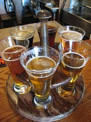 beer sampler at Brewer's Alley