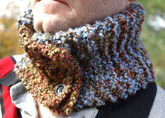 Blue and Brown Neckwarmer/Cowl - Hand Knit - Unisex