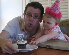 Claire and Stu blowing out the candle on her birthday cupcake