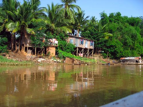 Motoring upriver in Cambodia