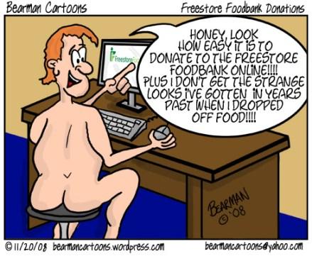 Bearman Cartoon Freestore Foodbank Blogger Challenge