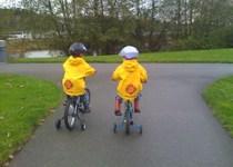 Firemen riding bikes